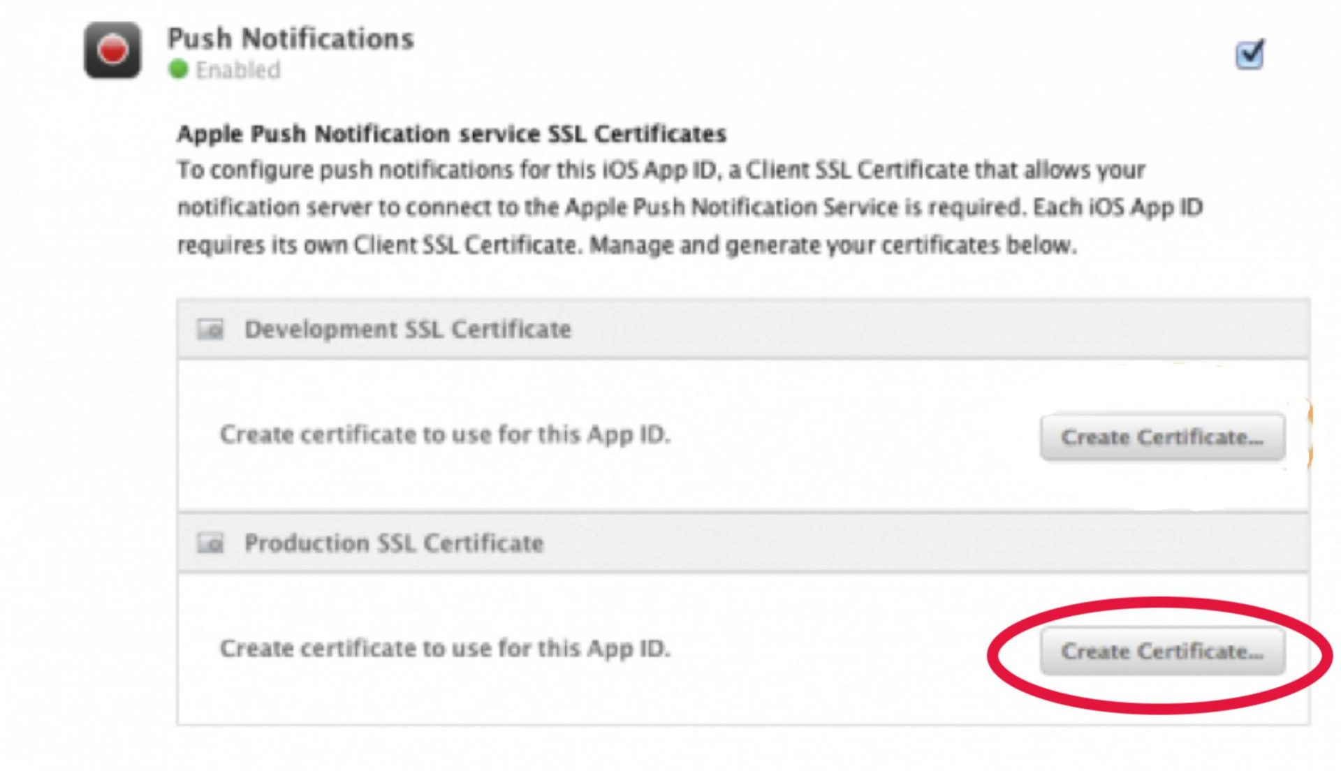 How to create a pem file for ios push notifications part 2 scroll down to the push notifications section go to production ssl certificate create certificate 1betcityfo Images