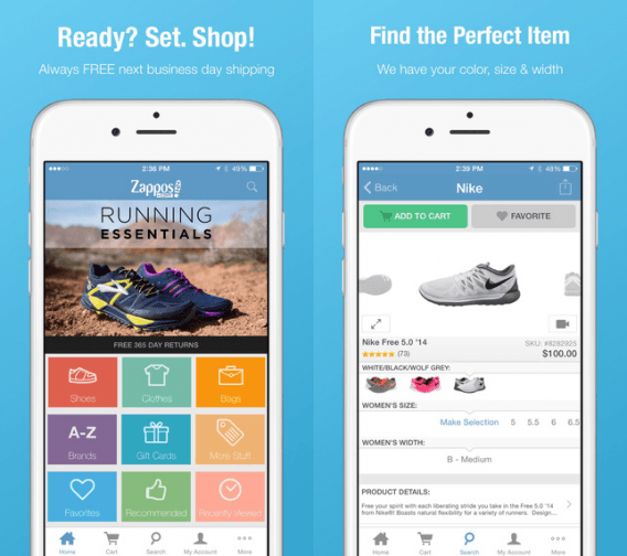 top 10 mobile shopping apps builder - Zappos