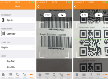 Bar code and QR code on mobile app