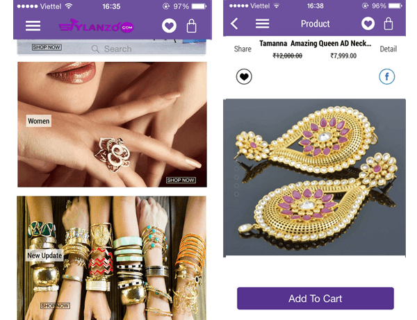 Zara theme for magento mobile app built with SimiCart