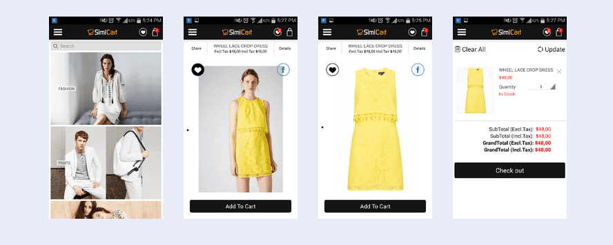 Zara Theme Magento fashion mobile app SimiCart
