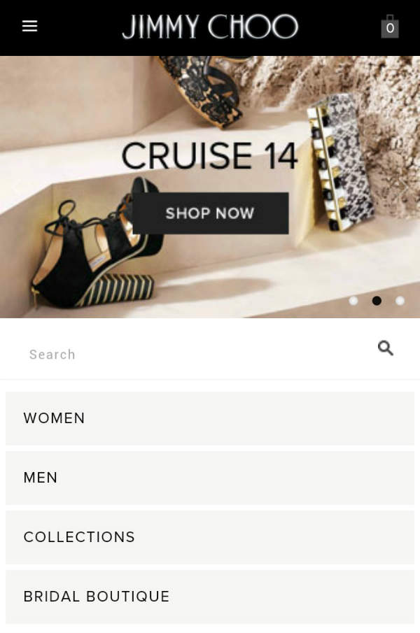 mobile e-commerce experience jimmy choo
