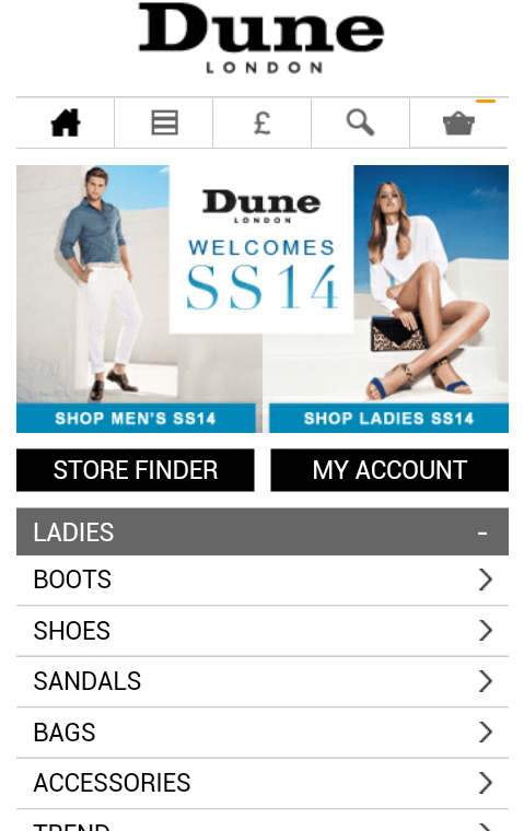 dune mobile e-commerce experience