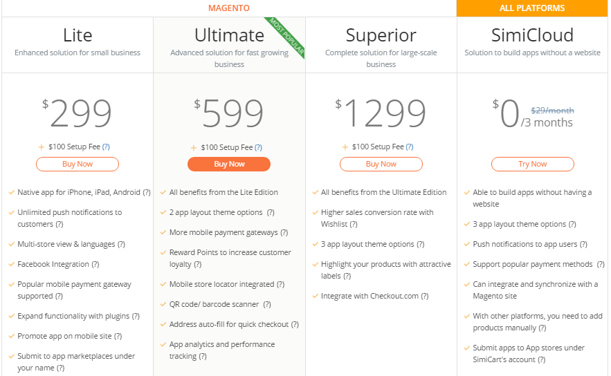 prices of simicart packages