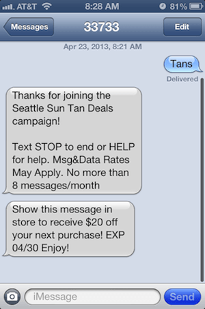 SMS Mobile Marketing Case studies from Seattle Sun Tan