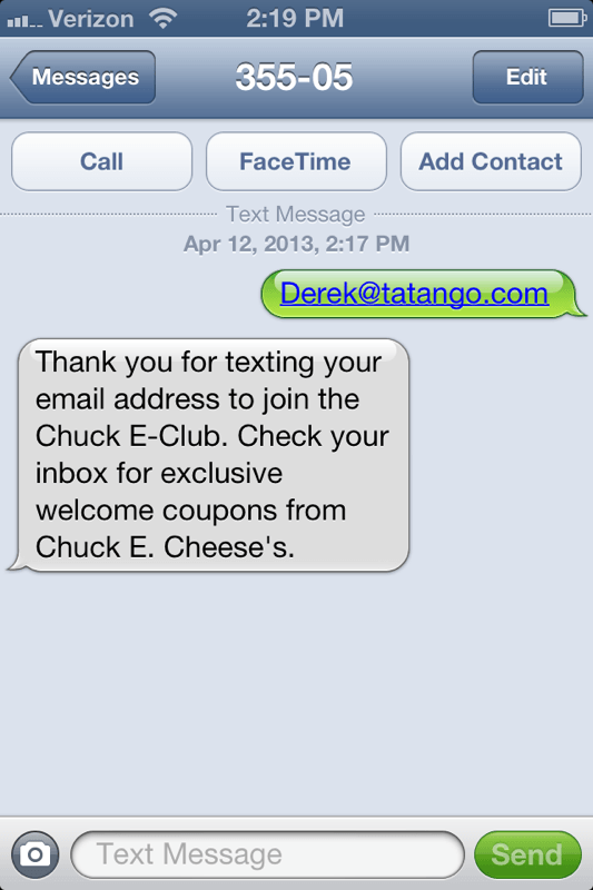 SMS mobile marketing case studies from Chuck E. Cheese's