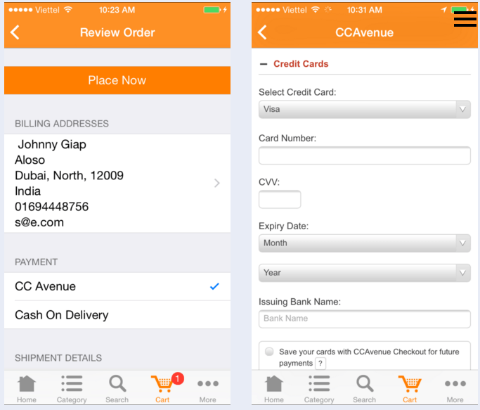 CCAvenue payment solution for ios shopping app