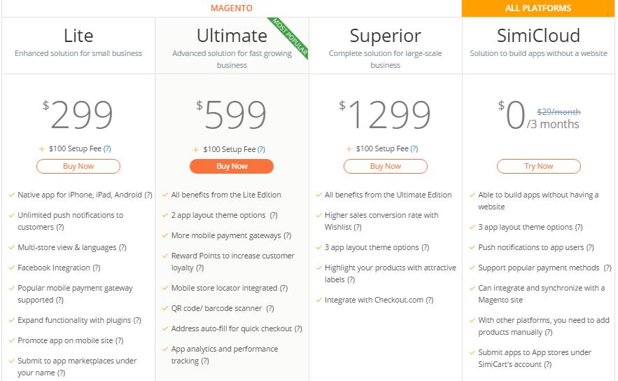mobile native app builder SimiCart price
