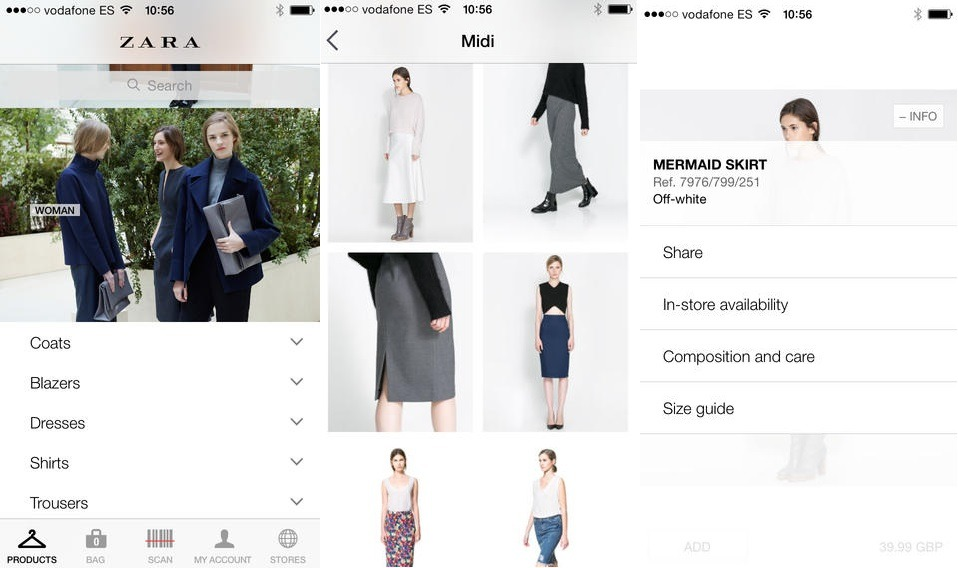 Zara - one of excellent examples for leading trend & styles for mobile app 2016